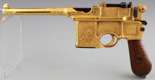 Chinese Gilt Presentation Mauser Broomhandle