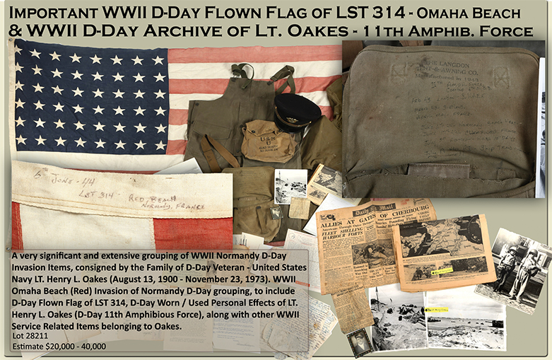 WWII D DAY INVASION FLOWN FLAG LST 314 LT. HENRY OAKES ARCHIVE