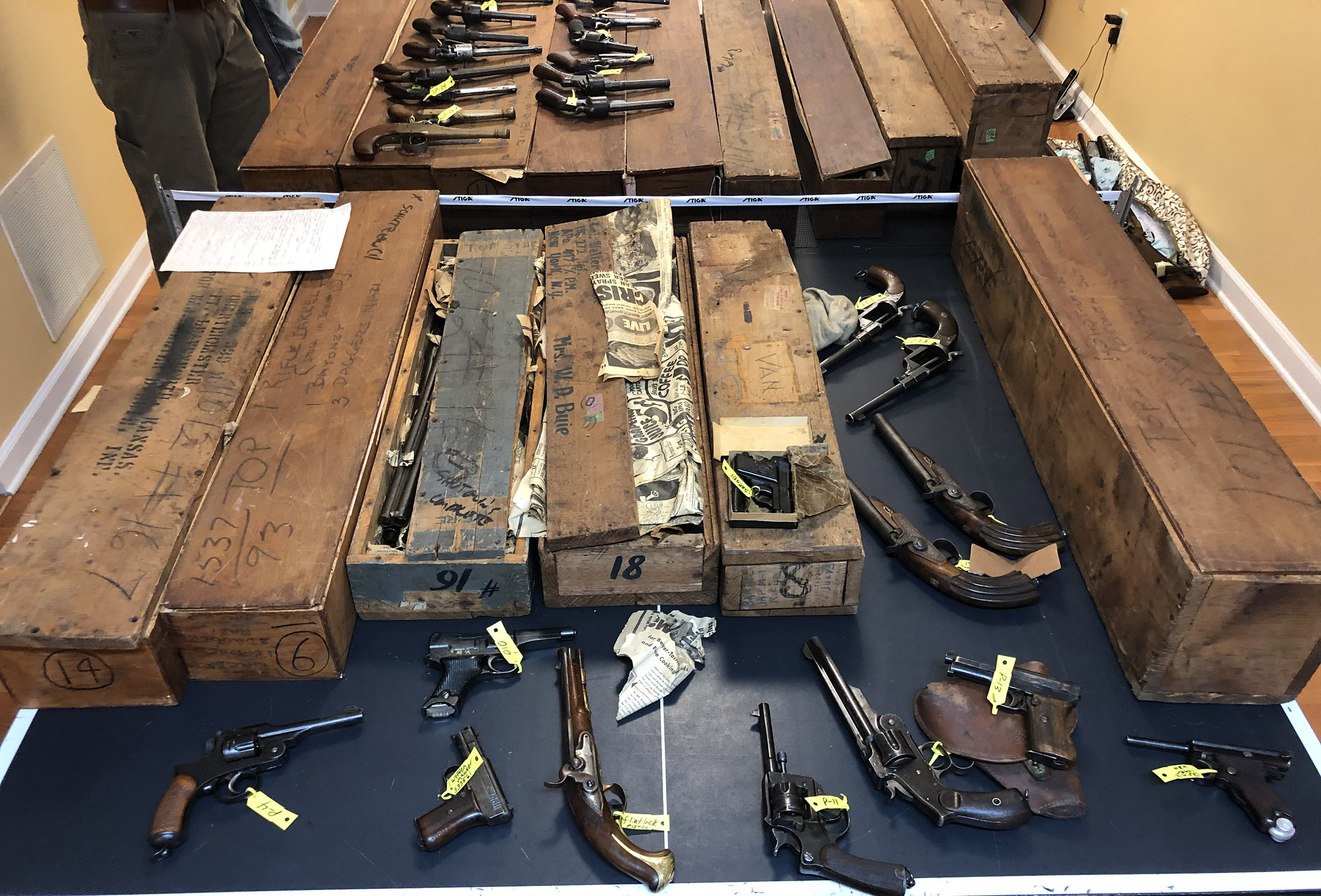 Colonel Walter Buie   WWII War Trophy Firearm Collection Displayed in Original WWII Wooden Shipping Crates